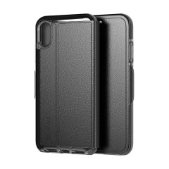 The Evo Wallet case by Tech21 carefully surrounds your iPhone XS with a slim-fitting see-through back case and a tactile folio cover. The Evo Wallet case comes with 2 concealed slots for your debit, credit or personal ID cards.