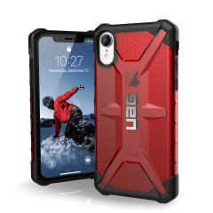 The Urban Armour Gear Plasma semi-transparent tough case in magma for the iPhone XR features a protective case with a brushed metal UAG logo insert for an amazing rugged and stylish design.
