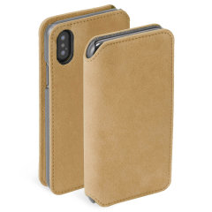 Krusell's Broby 4 Card Slim Wallet leather case in cognac combines Nordic chic with Krusell's values of sustainable manufacturing for the socially-aware iPhone XS Max owner who seeks 360° protection with extra storage for cash and cards.