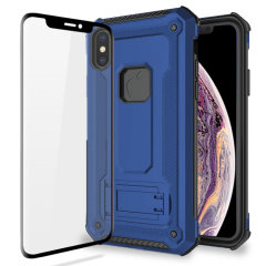 Equip your iPhone XS with a 360 degree protection with this new blue Olixar Manta case & glass screen protector bundle. Enjoy a built-in kickstand designed for media viewing, whilst also compliments the case's futuristic & rugged military design.