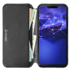 Krusell's Pixbo 4 Card Slim Wallet case in black combines Nordic chic with Krusell's values of sustainable manufacturing for the socially-aware Huawei Mate 20 Lite owner who seeks 360° protection with extra storage for cash and cards.