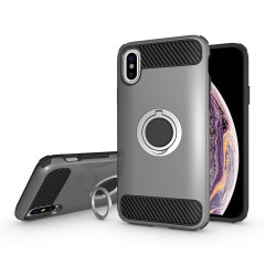 Made for the Apple iPhone XS, this tough silver ArmaRing case from Olixar provides extreme protection and a finger loop to keep your phone in your hand, whether from accidental drops or attempted theft. Also doubles as a stand.