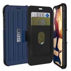 Équipez votre iPhone XS à l'aide de cette coque de protection exceptionnelle en coloris bleu cobalt. Certifiée anti-chute par les dernières normes militaires, la coque UAG Metropolis protège votre smartphone même dans les conditions les plus extrêmes, et elle permet également le stockage de vos différentes cartes. Résistante aux impacts et à la pluie, elle est le moyen idéal pour protéger votre smartphone et y ranger vos cartes.