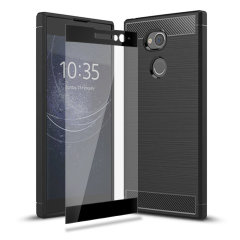 Flexible rugged casing with a premium matte finish non-slip carbon fibre and brushed metal design, the Olixar Sentinel case in black keeps your Sony Xperia XA2 Plus protected from 360 degrees with the added bonus of a tempered glass screen protector.