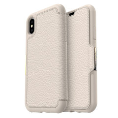 A sophisticated lightweight genuine leather case, the OtterBox Strada wallet cover in opal offers perfect protection for your iPhone XS, as well as featuring slots for your cards, cash and documents.