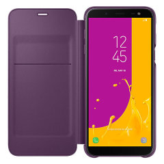 Protect your Samsung Galaxy J6 2018's back, sides and screen from harm while keeping your most vital cards close to hand with the official flip wallet cover in purple from Samsung.
