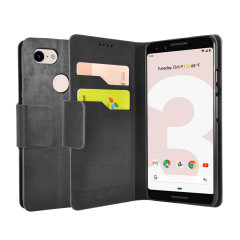 Protect your Google Pixel 3 with this durable and stylish black leather-style wallet case from Olixar, featuring two card slots. What's more, this case transforms into a handy stand to view media.