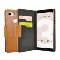 Protect your Google Pixel 3 with this durable and stylish tan leather-style wallet case from Olixar, featuring two card slots. What's more, this case transforms into a handy stand to view media.