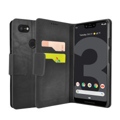 Protect your Google Pixel 3 XL with this durable and stylish black leather-style wallet case from Olixar, featuring two card slots. What's more, this case transforms into a handy stand to view media.