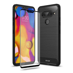 Flexible rugged casing with a premium matte finish non-slip carbon fibre and brushed metal design, the Olixar Sentinel case in black keeps your LG V40 ThinQ protected from 360 degrees with the added bonus of a tempered glass screen protector.
