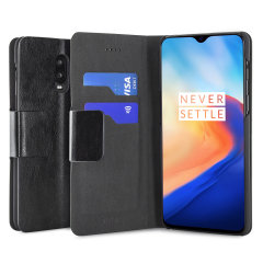 The Olixar leather-style OnePlus 6T Wallet Case in black attaches to the back of your phone to provide superb enclosed protection and can also be used to hold your credit cards. So you can leave your other wallet home as this case has it all covered.