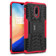 Protect your OnePlus 6T from bumps and scrapes with this red ArmourDillo case from Olixar. Comprised of an inner TPU case and an outer impact-resistant exoskeleton, with a built-in viewing stand.