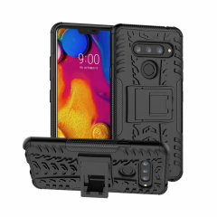 Protect your LG V40 ThinQ from bumps and scrapes with this black ArmourDillo case. Comprised of an inner TPU case and an outer impact-resistant exoskeleton, the Armourdillo not only offers sturdy and robust protection, but also a sleek modern styling.