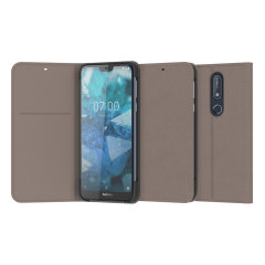 Official Nokia 7.1 Entertainment Flip Wallet Case - Grey