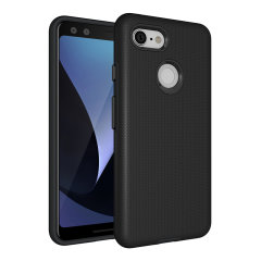 The Eiger North Dual Layer Protective Case in black is a hybrid ergonomic protective case for the Google Pixel 3, providing fantastic protection without adding excessive bulk.