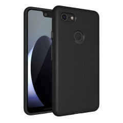 The Eiger North Dual Layer Protective Case in black is a hybrid ergonomic protective case for the Google Pixel 3 XL, providing fantastic protection without adding excessive bulk.