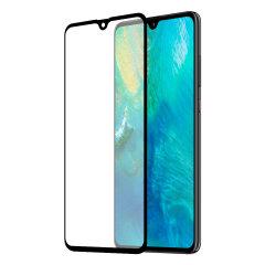 Deze ultradunne schermcover van gehard glas voor de Huawei Mate 20 met zwarte voorkant van Olixar biedt stevigheid, hoge zichtbaarheid en gevoeligheid in één pakket.