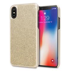 Verwöhnen Sie Ihr iPhone XS mit dieser luxuriösen goldenen Schalenhülle von LoveCases. Ihr iPhone passt perfekt in den sicheren, robusten Rahmen, während ein schimmernder Vorhang aus Edelsteinen die Rückseite schmückt und Ihrem bereits wunderschönen Gerät einen Hauch von Klasse verleiht.