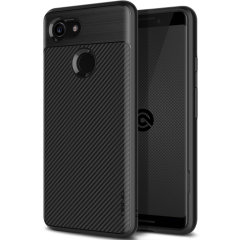 The Obliq Flex Pro Shell Case in carbon black is a stylish and ergonomic protective case for the Google Pixel 3 XL, providing impact absorption and fantastic grip due to its textured surface design.