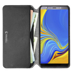 Krusell's Pixbo 4 Card Slim Wallet vegan leather case in black combines Nordic chic with Krusell's values of sustainable manufacturing for the socially-aware Samsung Galaxy A7 2018 owner who seeks 360° protection with extra storage for cash and cards.