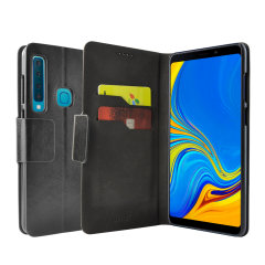 Protect your Samsung Galaxy A9 2018 with this durable and stylish black leather-style wallet case by Olixar. What's more, this case transforms into a handy stand to view media.