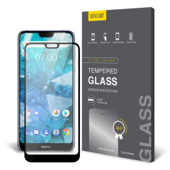 This ultra-thin tempered glass full cover screen protector for the Nokia 7.1 from Olixar with black front offers toughness, high visibility and sensitivity all in one package.