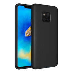 The Eiger North Dual Layer Protective Case in black is a hybrid ergonomic protective case for the Huawei Mate 20, providing fantastic protection without adding excessive bulk.