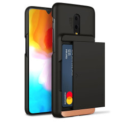 Protect your OnePlus 6T with this precisely designed case in black from VRS Design. Made with tough yet slim material, this hardshell construction with soft core features patented sliding technology to store two credit cards or ID.