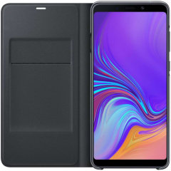 Protect your Samsung Galaxy A9 2018's back, sides and screen from harm while keeping your most vital cards close to hand with the official flip wallet cover in black from Samsung.