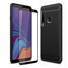 Flexible rugged casing with a premium matte finish non-slip carbon fibre and brushed metal design, the Olixar Sentinel case in black keeps your Samsung Galaxy A9 2018 protected from 360 degrees with the added bonus of a tempered glass screen protector.