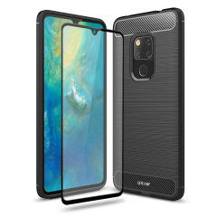 Flexible rugged casing with a premium matte finish non-slip carbon fibre and brushed metal design, the Olixar Sentinel case in black keeps your Huawei Mate 20 X protected from 360 degrees with the added bonus of a tempered glass screen protector.