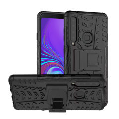 Protect your Samsung Galaxy A9 2018 from bumps and scrapes with this black ArmourDillo case from Olixar. Comprised of an inner TPU case and an outer impact-resistant exoskeleton, with a built-in viewing stand.