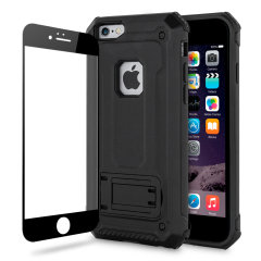 Statten Sie Ihr iPhone 6S / 6 mit einem 360-Grad-Schutz aus mit dieser neuen schwarzen Olixar Manta-Tasche und einem Glasschutz-Bundle. Genießen Sie einen integrierten Kickstand, der für die Medienbesichtigung konzipiert ist, und ergänzen Sie gleichzeitig das futuristische und robuste Militärdesign des Gehäuses.