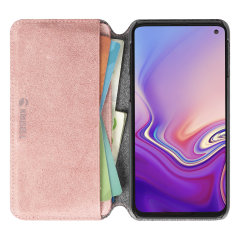Krusell's Broby 4 Card Slim Wallet leather case in pink combines Nordic chic with Krusell's values of sustainable manufacturing for the socially-aware Samsung S10e owner who seeks 360° protection with extra storage for cash and cards.