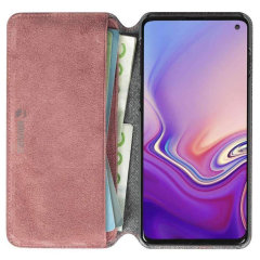 Krusell's Broby 4 Card Slim Wallet leather case in pink combines Nordic chic with Krusell's values of sustainable manufacturing for the socially-aware Samsung S10 owner who seeks 360° protection with extra storage for cash and cards.
