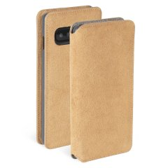 Krusell's Broby Card Slim Wallet leather case in Cognac combines Nordic chic with Krusell's values of sustainable manufacturing for the socially-aware Samsung S10 owner who seeks 360° protection with extra storage for cash and cards.