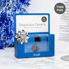 Disposable camera's are an excellent addition to any special day, typically left on party tables for guests to use - the Trendz Disposable Camera allows you to see your special event from angles you wouldn't otherwise experience - Triple Pack.