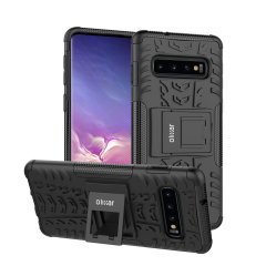 Protect your Samsung Galaxy S10 from bumps and scrapes with this black ArmourDillo case from Olixar. Comprised of an inner TPU case and an outer impact-resistant exoskeleton, with a built-in viewing stand.