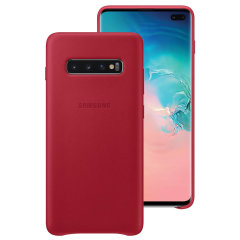 This Official Samsung Leather Cover in red is the perfect way to keep your Galaxy S10 Plus smartphone protected.