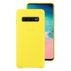 This Official Samsung Leather Cover in yellow is the perfect way to keep your Galaxy S10 smartphone protected.