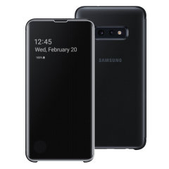 This Official Samsung Clear View Cover in black is the perfect way to keep your Galaxy S10e smartphone protected whilst keeping yourself updated with your notifications thanks to the clear view front cover.