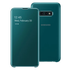 This Official Samsung Clear View Cover in green is the perfect way to keep your Galaxy S10e smartphone protected whilst keeping yourself updated with your notifications thanks to the clear view front cover.