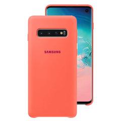 Protégez votre Samsung Galaxy S10 à l'aide de la coque Silicone Cover officielle de Samsung en coloris rose. Simple et élégante, elle s'ajuste parfaitement à votre smartphone et le protège des aléas du quotidien.