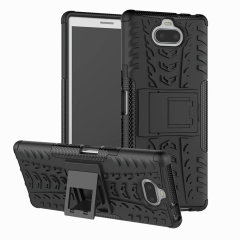 Protect your Sony Xperia 10 from bumps and scrapes with this black ArmourDillo case from Olixar. Comprised of an inner TPU case and an outer impact-resistant exoskeleton, with a built-in viewing stand.