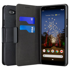 Protect your Google Pixel 3a with this durable and stylish black leather-style wallet case from Olixar, featuring two card slots. What's more, this case transforms into a handy stand to view media.