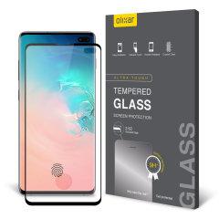 Protégez l'écran de votre Samsung Galaxy S10 Plus à l'aide de la protection d'écran en verre trempé Olixar Full Cover. Une fois appliquée, elle offre une protection robuste à l'écran de votre smartphone, une transparence totale et une sensibilité tactile optimale. Ce verre trempé est doté d'un cadre en coloris noir.