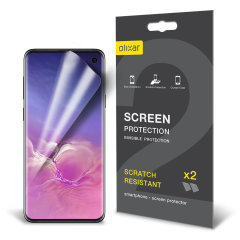 Keep your Samsung Galaxy S10's screen in pristine condition with this Olixar scratch-resistant screen protector 2-in-1 pack.