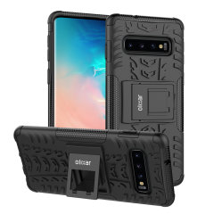 Protect your Samsung Galaxy S10 Plus from bumps and scrapes with this black ArmourDillo case from Olixar. Comprised of an inner TPU case and an outer impact-resistant exoskeleton, with a built-in viewing stand.