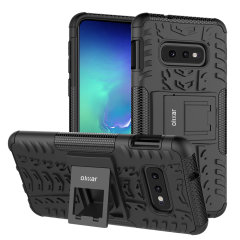Protect your Samsung Galaxy S10e from bumps and scrapes with this black ArmourDillo case from Olixar. Comprised of an inner TPU case and an outer impact-resistant exoskeleton, with a built-in viewing stand.