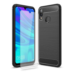 Flexible rugged casing with a premium matte finish non-slip carbon fibre and brushed metal design, the Olixar Sentinel case in black keeps your Huawei P Smart 2019 protected from 360 degrees with the added bonus of a tempered glass screen protector.